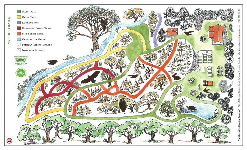 Nature Trail Map of Plant Paradise Country Gardens